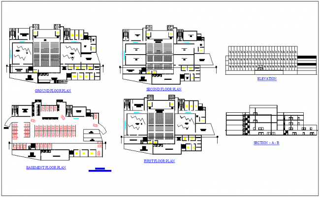 Floor plan,elevation and sectional view of trade fair hall dwg file