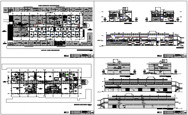 Floor plan,sectional view and elevation view of hospital design dwg file