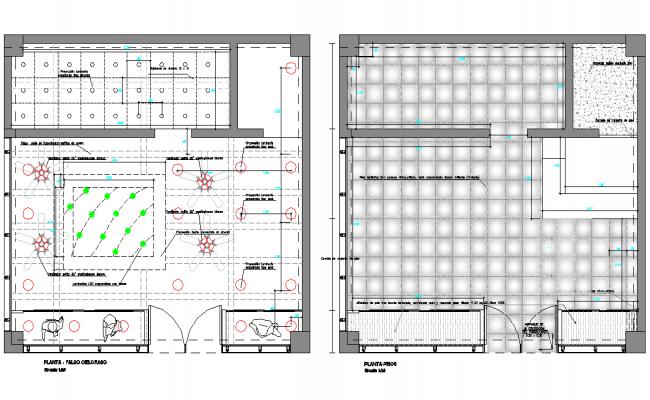 Floor plan and ceiling plan detail dwg file