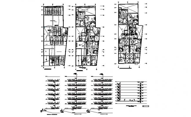 Floor plan and electrical layout plan details of apartment building dwg file