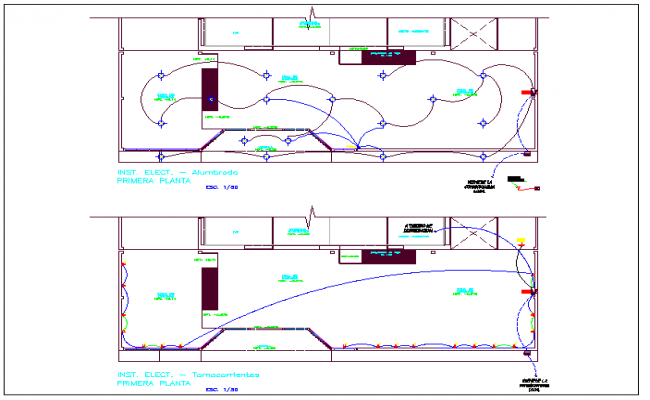 Floor plan and electrical plan layout detail dwg file