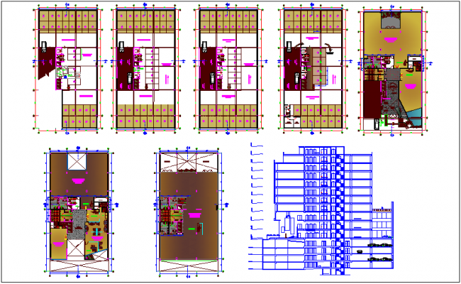 Floor plan and elevation of corporate building dwg file