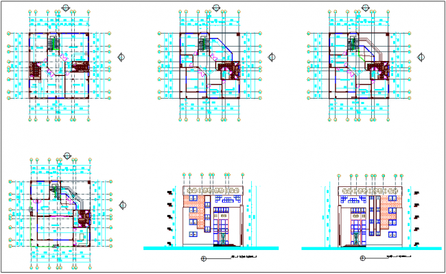 Floor plan and elevation view for administration building dwg file