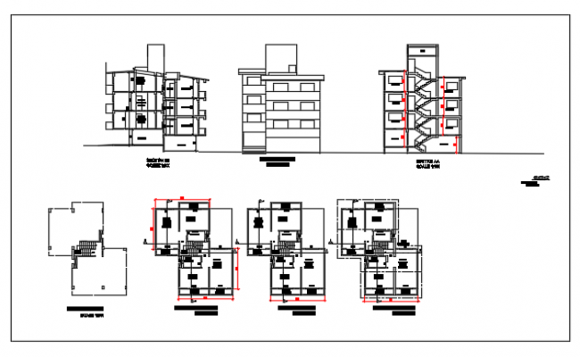 Floor plan and exterior elevation for a row house dwg file.
