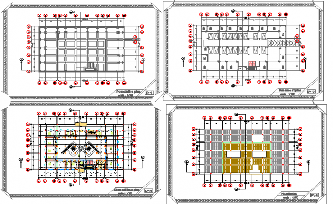Floor plan and general plan details of office building dwg file