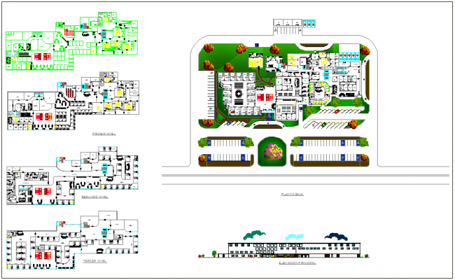 Floor plan and landscape view of hospital with elevation view dwg file