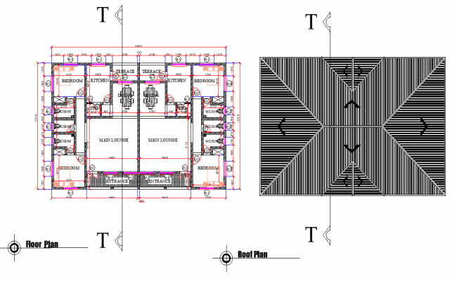 Floor plan and roof plan detail dwg file