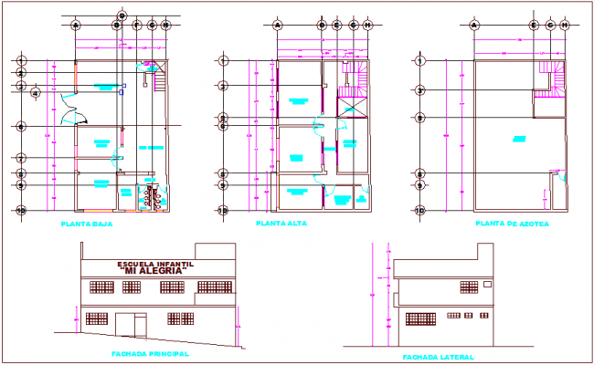 Floor & roof plan view with elevation, primary school dwg file