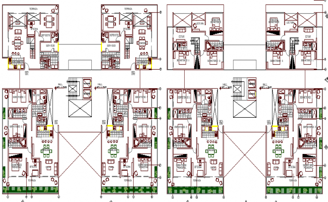Floor plan and structural details of multi-family housing building dwg file