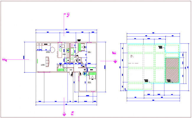 Floor plan design view for residential area dwg file