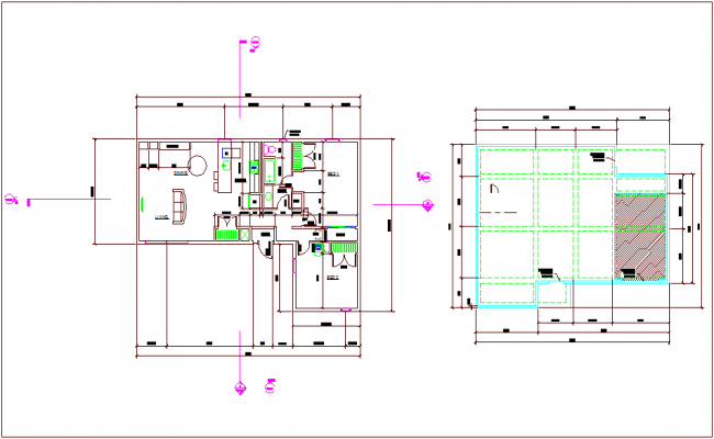 Floor plan design view of residential area dwg file