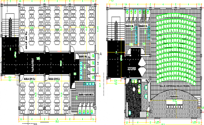 Floor plan details of Five story school building dwg file