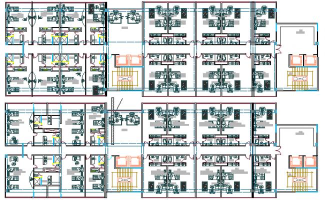 Floor plan details of Multi-flooring three star hotel dwg file