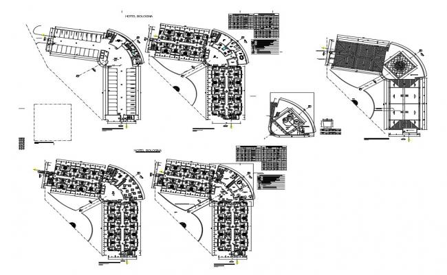 Floor plan details of luxuries five star hotel of bologna dwg file