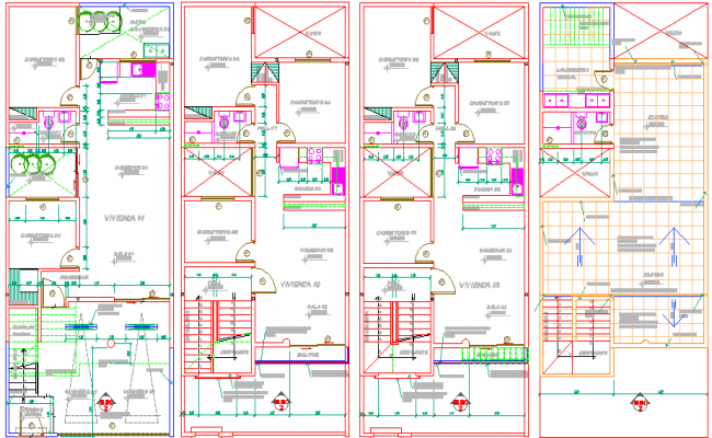 Floor plan details of multi-family housing apartment flats dwg file