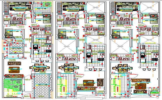 Floor plan details of multi-family housing building dwg file