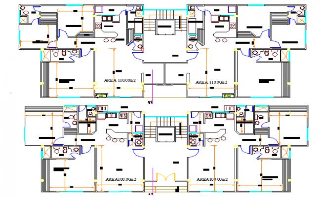 Floor plan details of multi-flooring bungalow dwg file