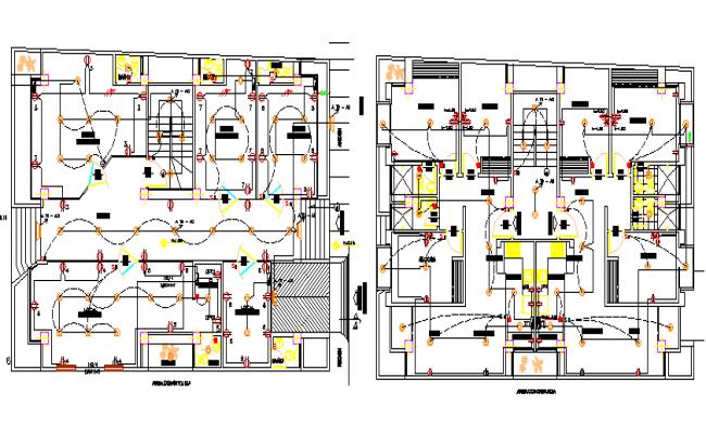 Floor plan details of multi-flooring corporate building dwg file