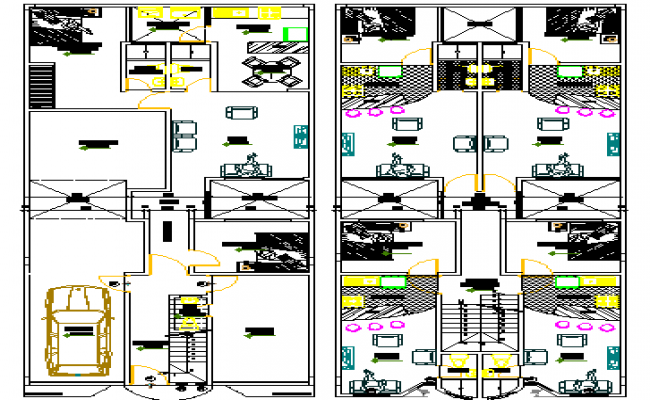 Floor plan details of multi-flooring housing apartment dwg file