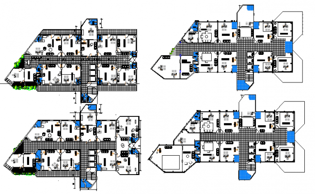 Floor plan details of multi-flooring office building dwg file
