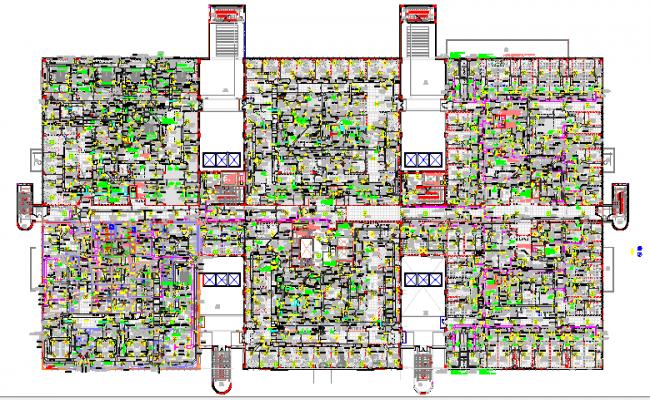 Floor plan details of residential housing building dwg file