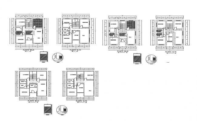 Floor plan details of two-level one family house dwg file