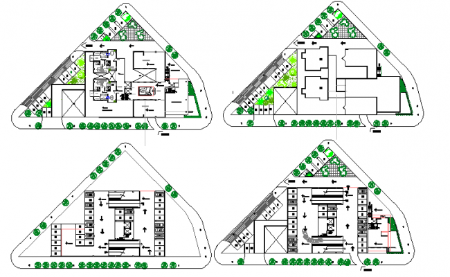 Floor plan details, landscaping of commercial housing building dwg file