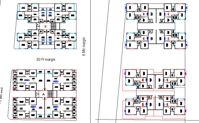 Floor plan details with multiple house layout plan details dwg file malvernweather Images
