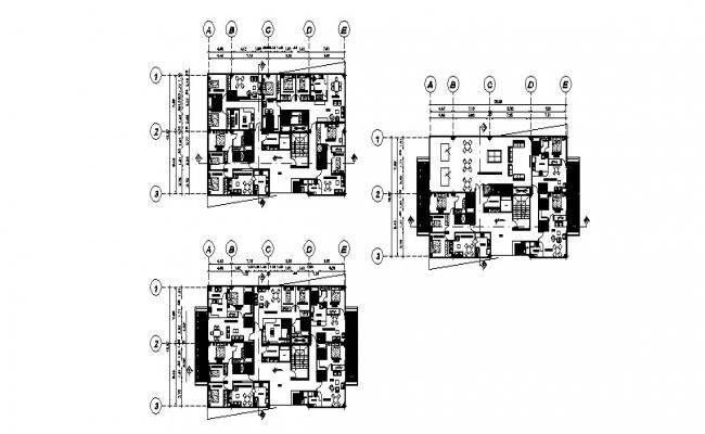 Floor plan distribution details of multi-story mixed used building dwg file