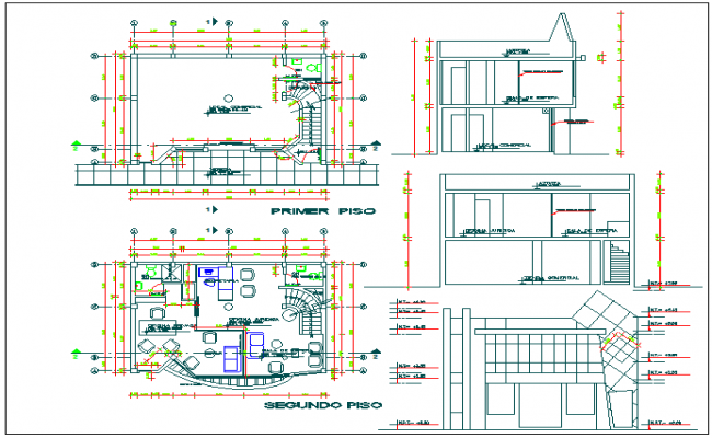Elevation Plan Details : Floor plan elevation and section view of office building