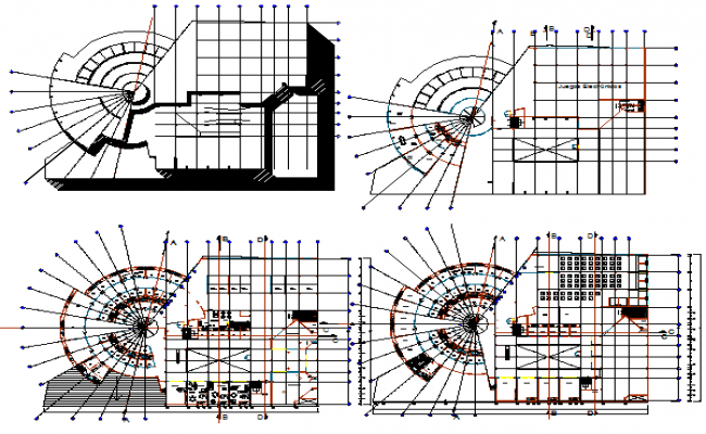 Floor plan layout details of all floors of shopping mall dwg file