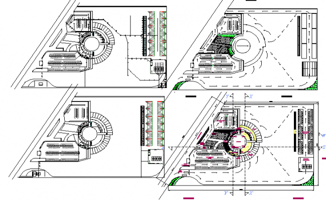 Floor plan layout details of circular trucks top and bus station building dwg file