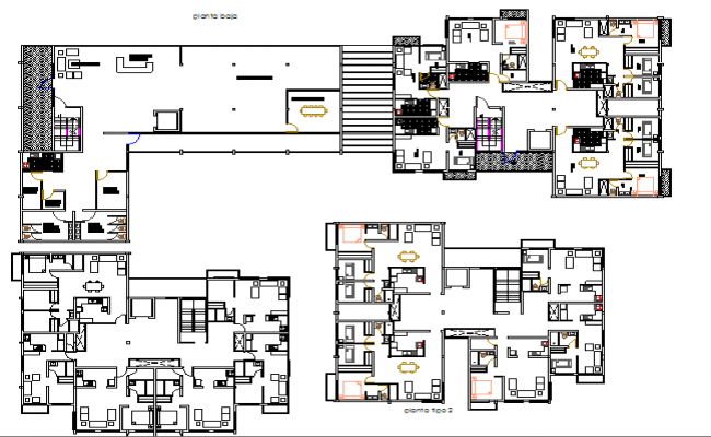 Floor plan layout details of high rise housing and commercial building dwg file