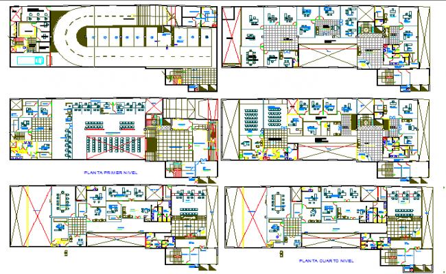 Floor plan layout details of multi-flooring bank head office building dwg file