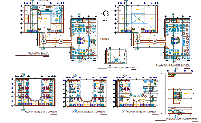Floor plan layout details of multi flooring hotel dwg file