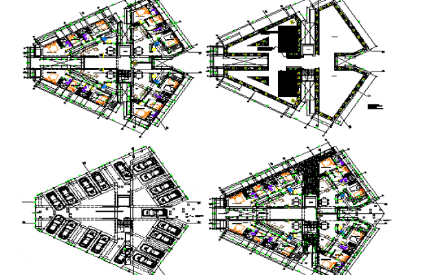 Floor plan layout details of multi-flooring housing building dwg file