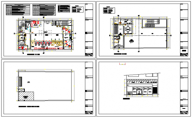 Floor plan layout details of office with cut sectional view dwg file
