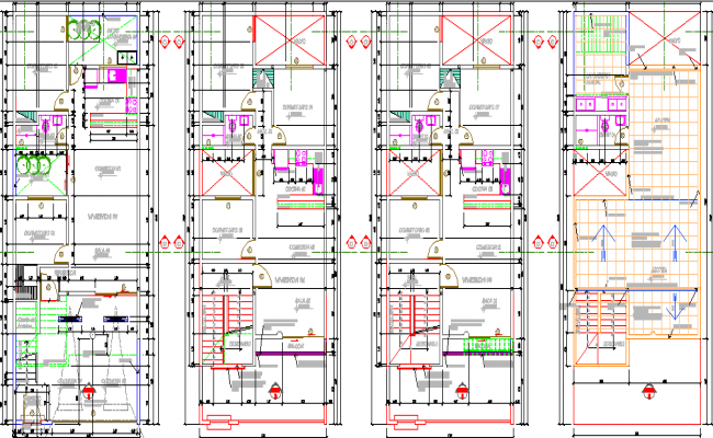 Floor plan layout of multi-family housing building dwg file
