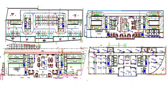 Floor plan layout of multi-flooring five star hotel dwg file