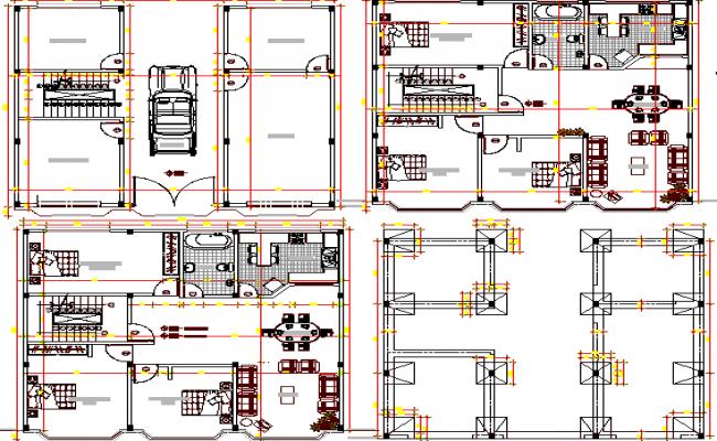 Floor plan layout of multi-flooring office building dwg file