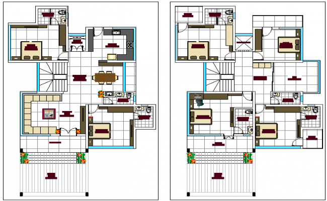 Floor plan layout of single family house dwg file