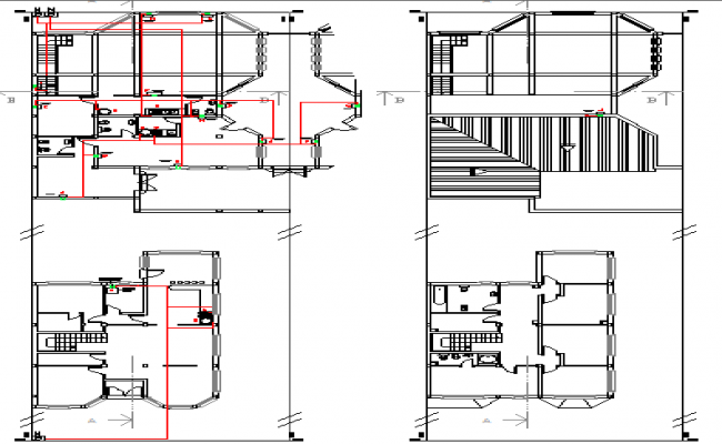Floor plan layout with gas installation details of housing dwg file