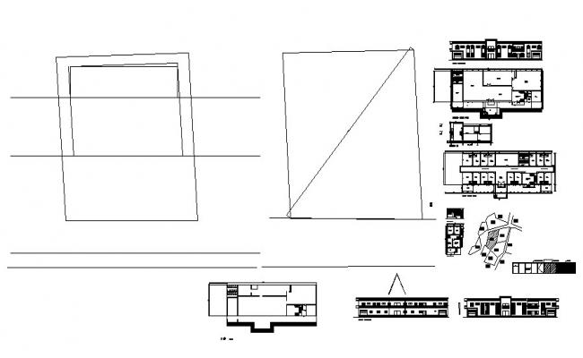 Floor plan of 2 storey hotel building with elevation and section in dwg file