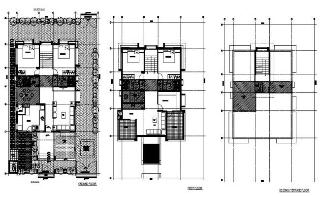 Floor plan of 3 storey house with section and elevation in dwg file