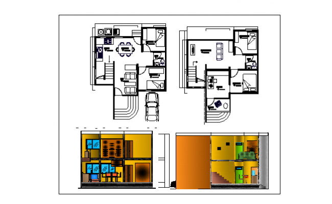 Floor plan of a bungalow  with two bed rooms dwg file