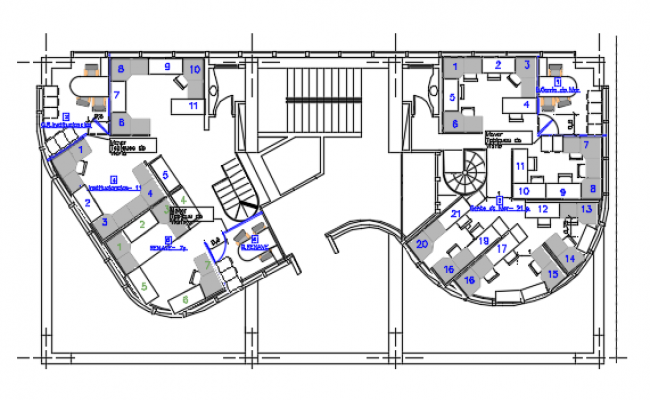 Floor plan of a corporate office dwg file