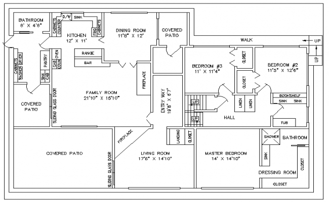 Floor plan of a house dwg file.
