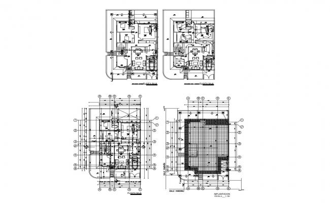 Floor plan of bungalow 11.80mtr x 15.85mtr with detail dimension in dwg file