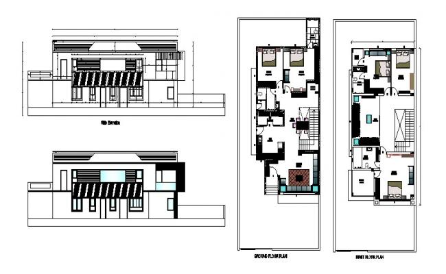 Floor plan of bungalow 28'3'' x 27'6'' with elevation in AutoCAD