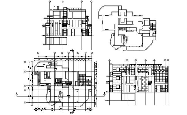 Floor plan of bungalow design in dwg file
